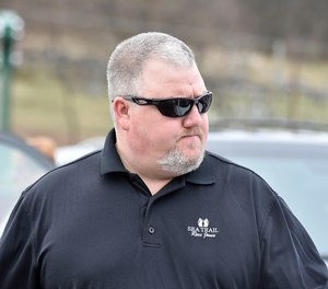 Former Allentown Police Officer Corey Cole Jr. in April after surrendering to charges of fraud theft. Cole pleaded guilty and his sentencing has been pushed back due to a bid to keep his $47,000 yearly pension.