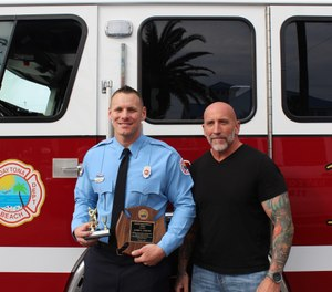 Daytona Beach firefighter James Axiotis, left, is shown with Officer Sean Walker three weeks after Walker's heart attack. (Photo/Daytona Beach Fire Department)