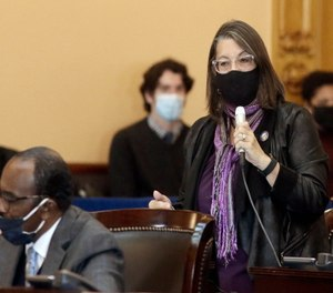 Ohio Senator Nickie Antonio speaks while wearing a mask during a session at the Ohio Statehouse.