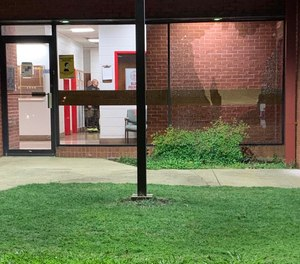 Gunfire shattered a window at Birmingham Fire and Rescue Service Station 15 on Wednesday, June 17, 2020. (Photo/Carol Robinson, Alabama Media Group)