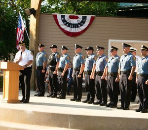 An awards ceremony for Secaucus Police and Firefighters took place at Buchmuller Park on July 27, 2020. (Photo/Michael Dempsey | The Jersey Journal via MCT)