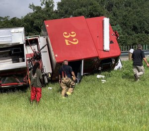 A Jacksonville Fire and Rescue Department fire truck crashed Sunday morning. (Photo/David Jones, First Coast News, Tribune News Service)