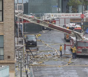 Los Angeles Fire Department officials said the department has no records indicating that a building where 11 firefighters were injured in an explosion in May was ever inspected. (Photo/Mel Melcon, Los Angeles Times)