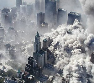 Smoke and ash engulf the area around the World Trade Center on Sept. 11, 2001.