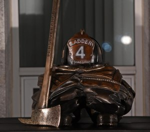 A memorial sculpture honoring fallen Worcester Firefighter Christopher Roy was unveiled on Monday at the Webster Square Fire Station in Worcester.