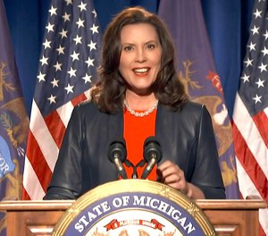 In this screenshot from the DNCC's livestream of the 2020 Democratic National Convention, Michigan Gov. Gretchen Whitmer addresses the virtual convention on August 17, 2020. (DNCC/Handout/Getty Images/TNS)