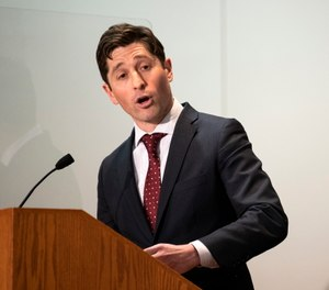 Minneapolis Mayor Jacob Frey speaks at a press conference about public safety in St. Paul, Minnesota.