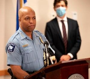 Minneapolis Police Chief Medaria Arradondo speaks as Mayor Jacob Frey looks on.