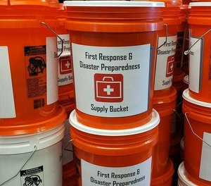 The Kirksville R-III School District in Missouri received 400 buckets filled with emergency supplies donated by the local fire department and ambulance district and local businesses. The supplies are meant to help students and faculty in the event of an emergency such as a shooting. (Photo/Courtesy Photo via Kirksville Daily Express)
