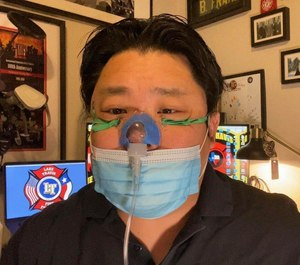 Braden Frame, a firefighter-paramedic with Lake Travis Fire Rescue, demonstrates a High Flow by Infant Simple Face Mask, a new tool he developed for field use in COVID-19 patients exhibiting respiratory distress. The department is the first agency to put the novel equipment into use.