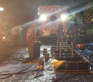 Easton firefighters discovered several decaying containers of acid at an old industrial building while responding to a call about a small fire. The hazmat team and containment specialists were called to the scene. (Photo/lehighvalleylive.com, Courtesy Photo)