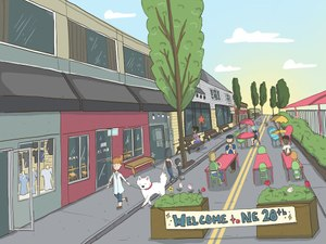 An artist rendering of Northeast 28th Avenue without cars, one of two pedestrian plazas being pushed by the Portland Promenade Project's Zach Katz.