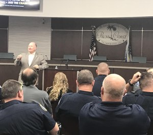 Nationally certified counselor Dwight Bain educates Palm Coast and Flagler Beach firefighters during a recent mental health awareness training session. (Photo provided/Palm Coast Fire Department)