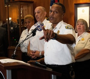 Philadelphia Police commissioner Richard Ross Jr. speaks to the media during a news conference at the Police Administration Building in Philadelphia on July 18, 2019.