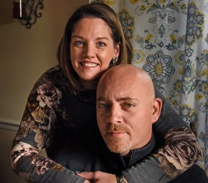 Dan Gosnell with his wife, Noelle, at home. Gosnell, 40, a former Aberdeen police lieutenant, became addicted to opioids after neck surgery, and lost his career after he resorted to stealing drugs from the evidence vault at the police station. Gosnell now counsels addicts as a clinical aide at Harbor Grace Recovery Center, an in-patient addict treatment center. He is sharing his story as a cautionary tale for other cops.