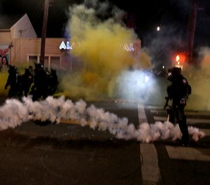 The Portland Police declared the protest a riot after multiple Molotov cocktails were thrown from the crowd in the direction of the police.