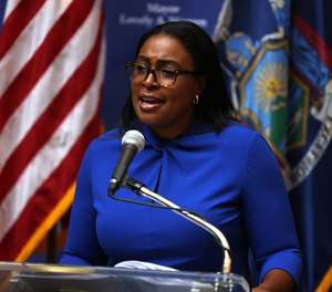 Lovely Warren, mayor of Rochester, speaks during a news conference on the death of Daniel Prude, on September 3, 2020, in Rochester, New York. (Michael M. Santiago/Getty Images/TNS)