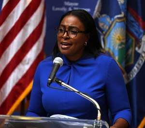 Lovely Warren, mayor of Rochester, speaks during a news conference on the death of Daniel Prude, on September 3, 2020, in Rochester, New York.