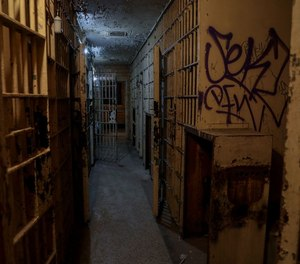 A look into the holding cells at the former Detroit 6th Precinct station building.