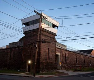 The exterior walls and towers of New Jersey State Prison in Trenton. (Photo/Michael Mancuso of NJ.com via TNS)