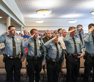 A Minneapolis police promotion ceremony in 2019. (Photo/Star Tribune)