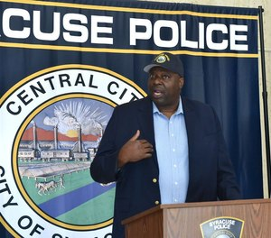 Syracuse Police Chief Kenton Buckner speaks at a press conference on Thursday, June 11, 2020.
