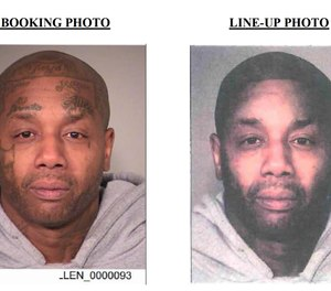 Tyrone Lamont Allen's mugshot, on left. The police Photoshop-altered photo of Allen, on right. (Police Image)