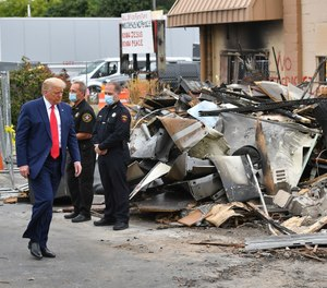 President Donald Trump tours an area affected by civil unrest in Kenosha, Wisconsin on September 1, 2020. (Photo/Mandel Ngan/AFP via Getty Images/TNS)
