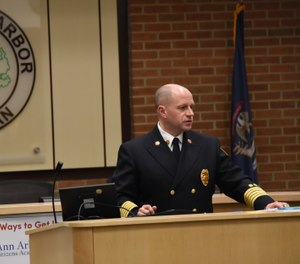 Fire Chief Mike Kennedy speaks at the Ann Arbor City Council's annual budget planning session on Dec. 9, 2019. Kennedy suggested to the council that the city fire department start its own ambulance service to address response time issues. (Photo/Ryan Stanton, MLive.com)