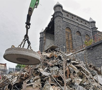 Baltimore watches the infamous Maryland Penitentiary tumble down
