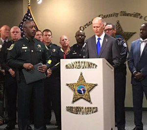 Central Florida law enforcement leaders joined Gov. Rick Scott Thursday morning for a signing of House Bill 477, which enhances penalties for synthetic opioids like fentanyl. (Photo/Orlando Police)