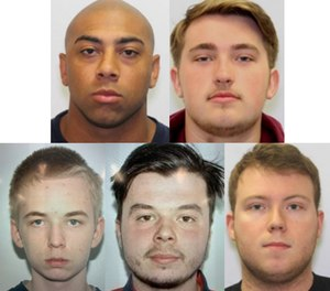 (Clockwise from top left) Jeremy Hawkins, Nicholas Holzberger, Cole Vazquez, Jay St. John and George Smith, all former members of the West Lanham Hills Volunteer Fire Department, are accused of helping to start several fires so they could then respond to them.