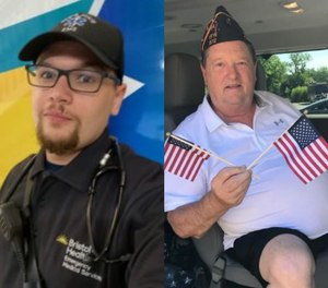 Bristol Health EMS Paramedic Taylor Gonzalez (left), an Army veteran who served in Iraq, helped save the life of fellow Army veteran James Whalen, who served in Vietnam, after a STEMI heart attack.
