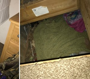 These images show a hidden trapdoor under which detectives found a missing, 14-year-old girl in Calaveras County, California.