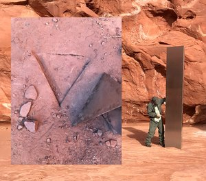 This composite picture shows a Utah state officer standing next to a monolith found in the desert Nov 18, 2020, and the imprint left behind after an unknown party removed the pillar.