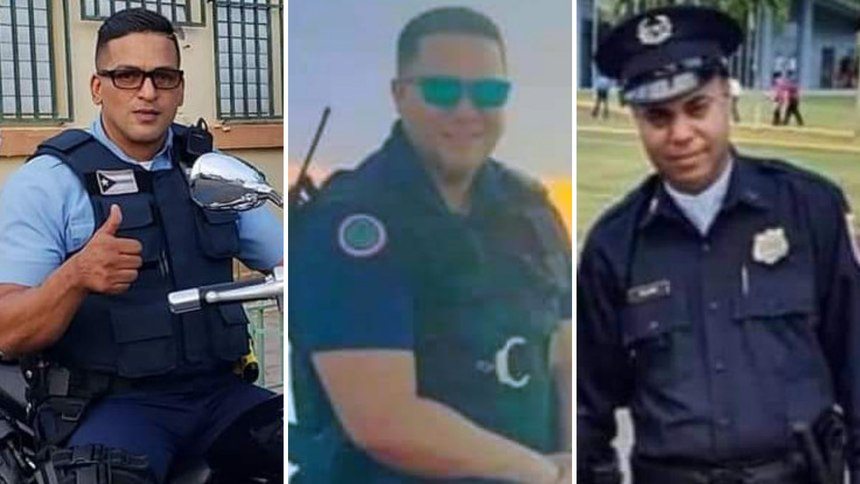From left to right, Agent Luis A. Marrero-Díaz, Agent Eliezer Hernández-Cartagena, Agent Luis X. Salamán-Conde.