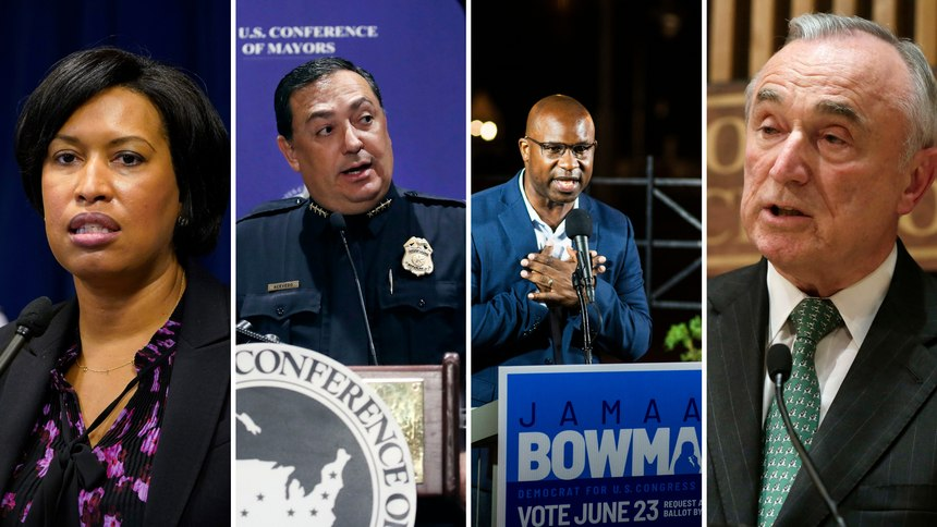 From left to right, Washington, D.C., Mayor Muriel Bowser, Houston Police Chief Art Acevedo, Congressman Jamaal Bowman and former NYPD commissioner Bill Bratton.