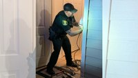Fla. deputy fixes woman's door that was damaged during call