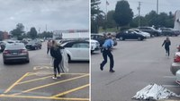 Watch: Shoplifter tries to run for it after getaway car abandons her