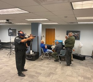 Sheriff's deputies from Bell County, Texas, outside of Austin practice VR training using Street Smarts VR. Training and resources provided by TMPA. (Photo/James Bono/TMPA)