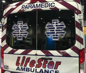 Rear doors of a Ford Transit van/ambulance (Image by Greg Friese)