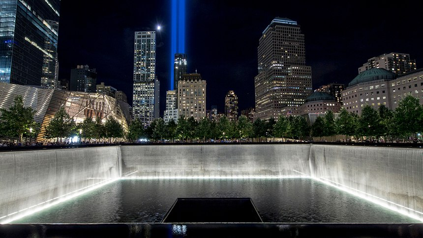 Each year in commemoration of 9/11, the twin beams ofTribute in Lightshine, recalling the Twin Towers and honoring those killed.