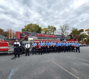 City officials gathered outside Hollenback Fire Station for a ceremony to dedicate a $1.4 million 2020 Pierce Enforcer 107-foot ascendant tractor-drawn aerial ladder firetruck.