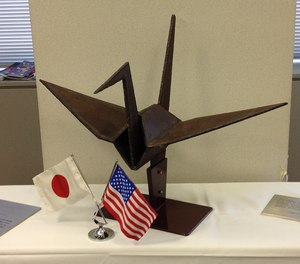 In the spirit of shared recovery and rebirth, the United States gifted to Japan a large origami crane sculpture, with 3-foot-wingspan, fashioned from World Trade Center steel.