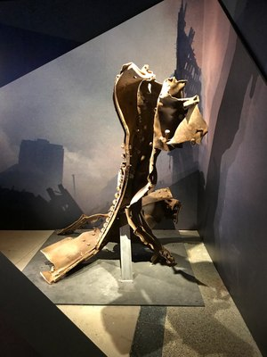 A piece of World Trade Center steel on display at the 9/11 Tribute Museum.