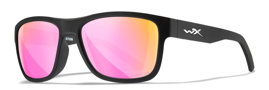 This is a WX Ovation in Captivate Rose Gold Mirror lenses. Lenses are also available in Smoke Gray, Captivate Polarized Green Mirror, Captivate Polarized Blue Mirror and Captivate Bronze Mirror.