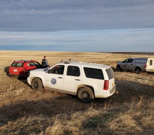 The end of a traffic stop that turned into a multi-agency pursuit with a murder suspect in Wheeler County, Ore., population 1357. (Photo/Wheeler County Sheriff's Facebook).