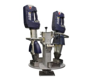 The heavy-duty rotating base of the Multiple Extrication Tool Holder from Ziamatic secures up to four extrication tools vertically within a limited space.