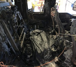 A blaze believe to have been caused by an electrical short ignited a wildland fire vehicle in its bay at Zional National Park's Emergency Operations Center, causing approximately $130,000 worth of damage. (Photo/National Park Service)