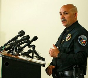 Balch Springs Police Chief Jonathan Haber speaks during a news conference after an officer involved shooting of 15-year-old Jordan Edwards at the Balch Springs Learning Center and Library in Balch Springs, Texas, Monday, May 1, 2017. (Nathan Hunsinger/The Dallas Morning News via AP)